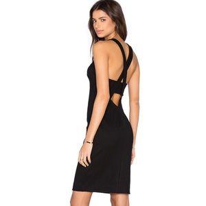 L'AGENCE Eve Cross Back Mini Dress in Black